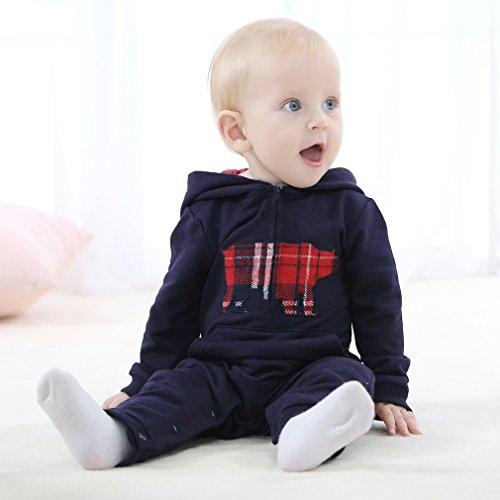 IDGIRL Hooded jumpsuit baby romper JY063-Navy90cm