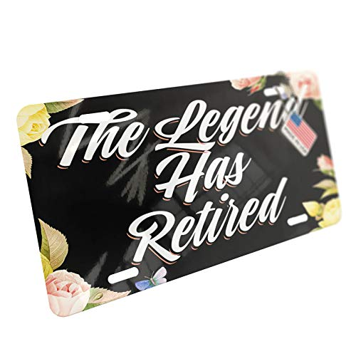 NEONBLOND Floral Border The Legend Has Retired Aluminum License Plate ()