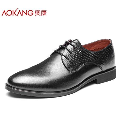 Scarpe Aemember Boys Plain tondo nero testa Business è la fascetta Low-Slip piccole scarpe ,39, nero