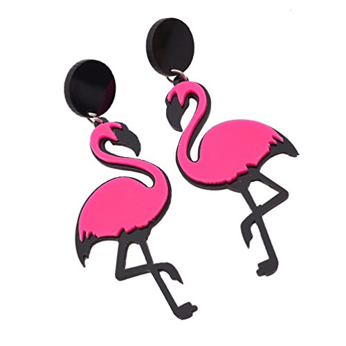 [Arcrylic Flamingo Shape Dangle Earrings Ear Stud Big Birds Drop Earrings 1 Pair] (Dia Dangle Earrings)