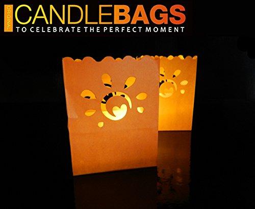 Candle Bags Sunny Orange (Satz von 30 Stück) - Orange Farben mit sonnigen Form Lichtertüten Weihnachten Dekoration Deko Leuchttüten Papierlaterne für innen und außen