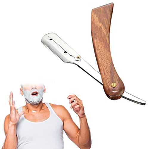 [Smileshop Rosewood Handle Straight Edge Barber Razor Folding Shaving Knife with 10 Blades Straight Edge Barber Shaving Knife free] (Work Team Costumes)