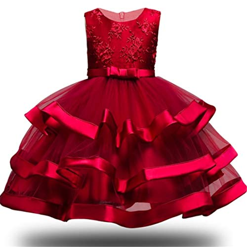 3T Dresses for Girls Halloween Prom Dresses for Toddlers Sleeveless Party Wedding Holiday Red Dresses for Girl 3T 4T Formal Bridesmaid Tutu Lace Dress Knee Length Graduation Party Dresses (Red -
