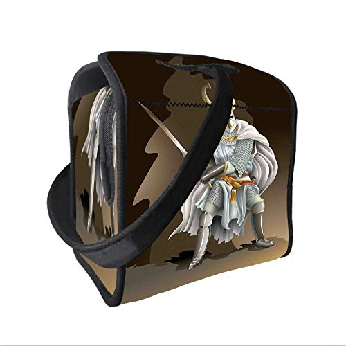 Empire Contact Paintball Ltd (Neoprene Lunch Tote Bag with Shoulder Strap,Medieval Decor,Illustration of Heavy Armored Knight of Kingdom Empire in the Past Times Culture,White Brown,for boys girls and adults)