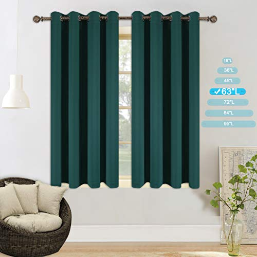 YGO Blackout Curtains for Bedroom Thermal Insulated Window Curtain Panels for Living Room 63 inches Long Room Darkening Window Treatment Sets 2 Panels Hunter Green