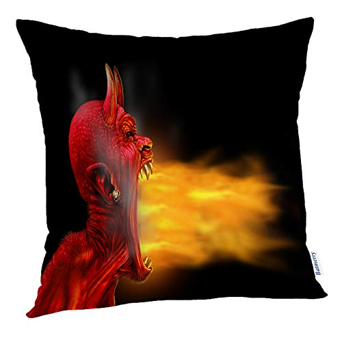 Batmerry Halloween Pillow Covers 18x18 inch, Black Fire Creepy Scary Red Beast Monster Hot Burning Throw Pillows Covers Sofa Cushion Cover Pillowcase Home Gift]()
