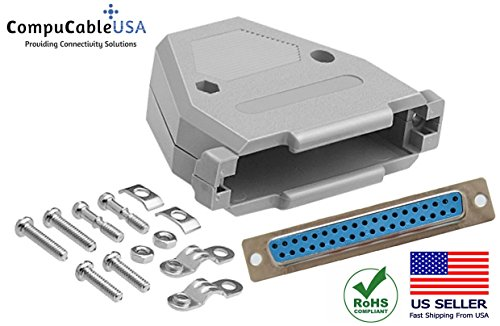 CompuCablePlusUSA.com Best DB37 Female Solder Cup Connector Kit With DB37 Plastic Hood Best Complete DB37 Female Solder Type set Fix/Make/Assembly your own DB37 ()