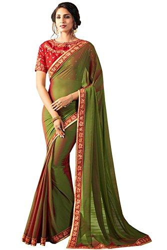 9fdd1a8e6a68b AASRI Women Green Red Georgette Embroidered Party Wear Saree With Unstiched  Blouse Piece