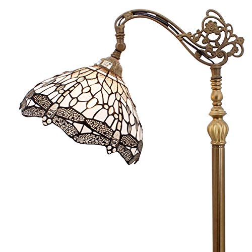 Tiffany Style Reading Floor Lamp White Clear Stained Glass with Crystal Bead Dragonfly Lampshade 64 Inch Tall Antique Arched Base for Bedroom Living Room Lighting Table Set Gifts S521W WERFACTORY