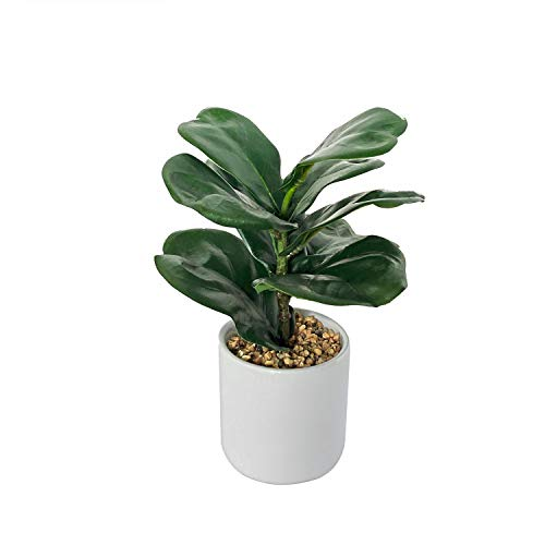 BESAMENATURE Mini Artificial Fiddle Leaf Fig Tree, Tabletop Artificial Tree for Home Decor, 8.5
