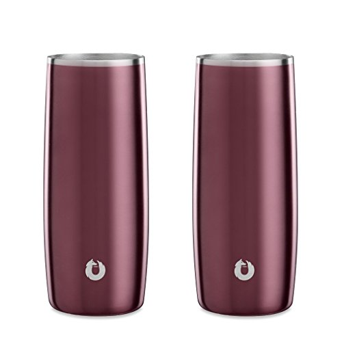 SNOWFOX Insulated Stainless Steel Drink 14.5 oz. Highball Glass, Set of 2, Dark Rose