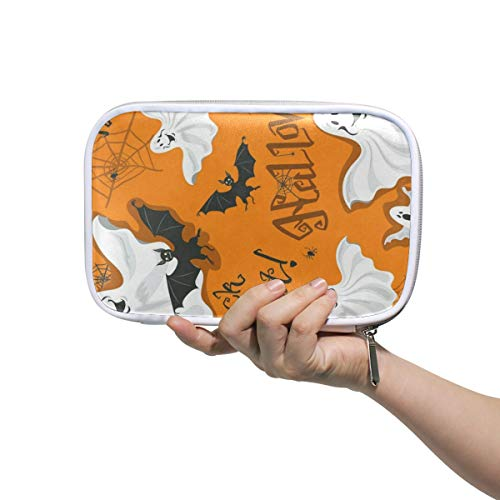 Funny Halloween Bats Ghosts Spiders Web Large Pencil Case Multifunction Leather Cosmetic Brush Set Bag Organizer Zip Bags ()