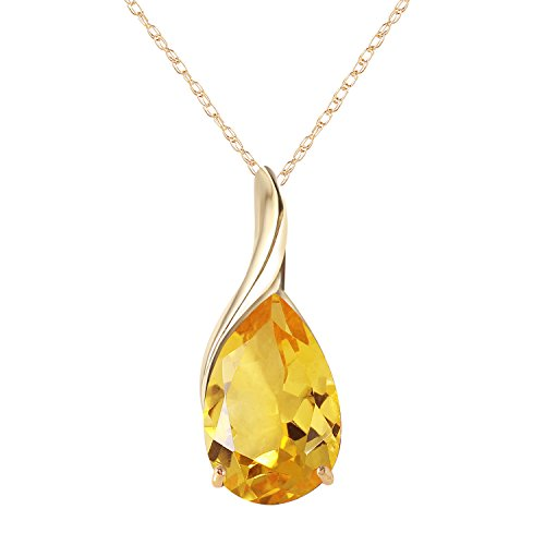 - 14k Solid Yellow Gold Necklace with Pear-shaped Natural 5 carats Citrine 1627Y (18)