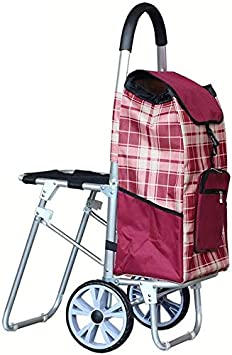 Bearing About 40Kg,Blue,101/×35cm BBG Multifunction Portable Hand Trucks Shopping Cart,Travel Portable Trolley Elderly Can Take Collapsible Trolley Aluminum