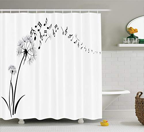 Ambesonne Music Shower Curtain, Flying Dandelions with Notes Music Summer Spring Meadow Silhouette Softness Simple, Cloth Fabric Bathroom Decor Set with Hooks, 75
