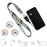 Cell Phone Lanyard Detachable, Universal Phone Neck Strap, Soft Phone Lanyard Neck Strap Case Holder, Crimmy Smartphone Strap (Light Flower)