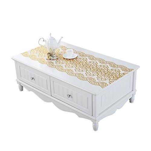 ZB STORE Dresser tv cabinet mat,Gilt silver table cloth,Tea table mats,Plastic rural european tablecloth-A 50x180cm(20x71inch) (Silver Gilt Table)