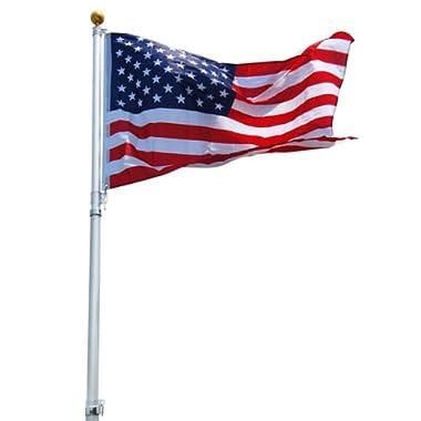 Aluminum Telescoping Flagpole Kit with USA Flag, 20ft