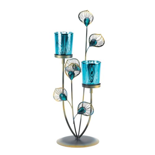 Gallery of Light 10015949 Peacock Plume Candleholder, Multicolor (Teal Accent Pieces)