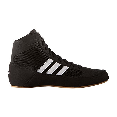 adidas HVC 2 Youth Laced Wrestling Shoes - Black/White/Grey - 4 (Youth Black Footwear)