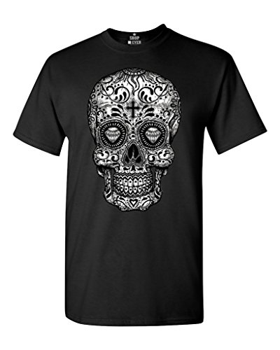 Shop4Ever Skull Black & White T-Shirt Day of The Dead Shirts Large Black 17037 -