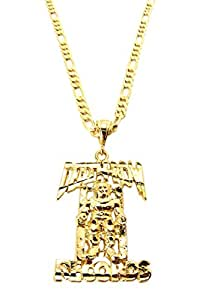 Gold Death Row Records Small Pendant with a 24 Inch 5mm Figaro Chain Necklace