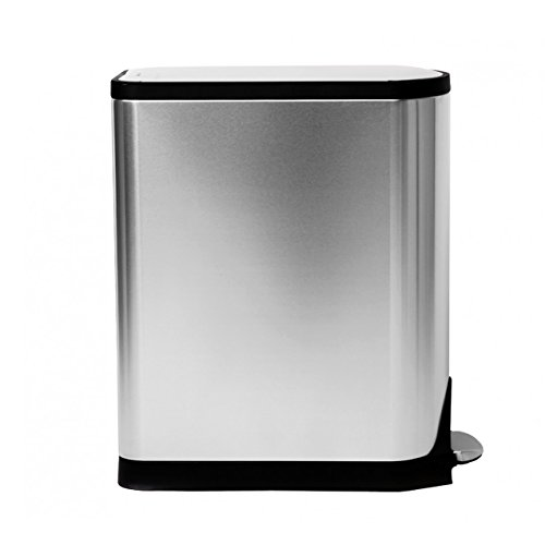 simplehuman 40 Liter / 10.6 Gallon Stainless Steel Dual Compartment Butterfly Lid Kitchen Step Trash Can Recycler, Brushed Stainless Steel by simplehuman (Image #3)