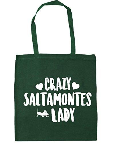HippoWarehouse Crazy Saltamontes Lady Bolso de Playa Bolsa Compra Con Asas para gimnasio 42cm x 38cm 10 litros capacidad Verde Botella