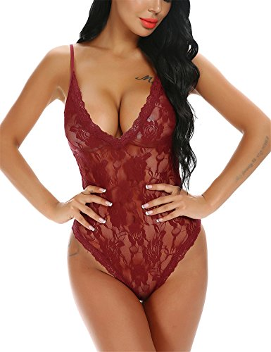 Lace Stretch Bodysuit - Monrolove Lingerie For Women Teddy One Piece Lace Babydoll Bodysuit Red XL