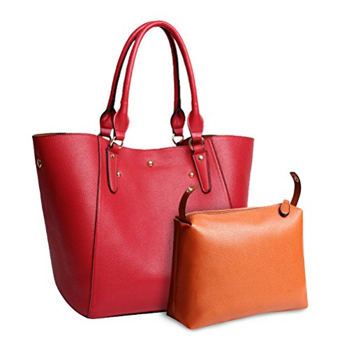 B Women Hobo Bag for College Large Teacher Tote Handbag Bag Shopping Bag Handbags Red Leather Ladies nP1qwB6