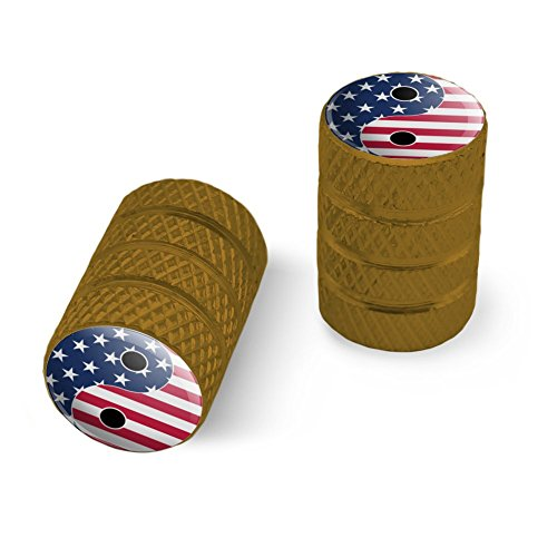オートバイ自転車バイクタイヤリムホイールアルミバルブステムキャップ - ゴールドアメリカの愛国心と羊のアメリカの旗