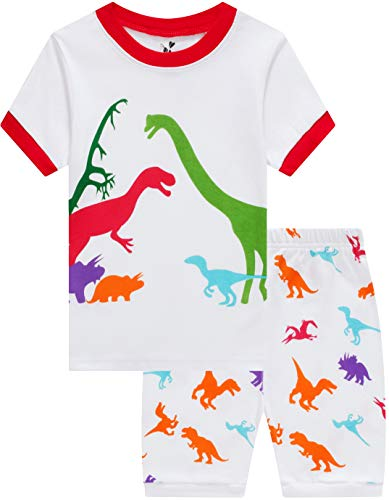 CoralBee Pajamas for Boys Dinosaur Clothes Baby Pj Shorts Kids Summwe Pyjamas White Sleerwear 6t