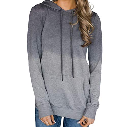 Mikey Store Women Pocket Long Sleeve Hoodies Sweatshirt Pullover ()