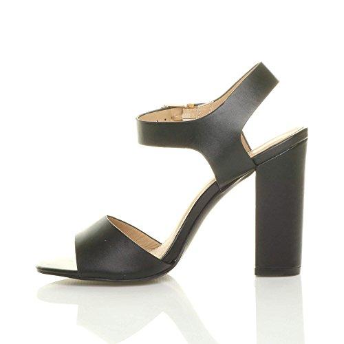 Ajvani Damen Hoch Absatz Party Elegant Schnalle Freizeit Riemchensandalen Schuhe Größe Schwarz Matt