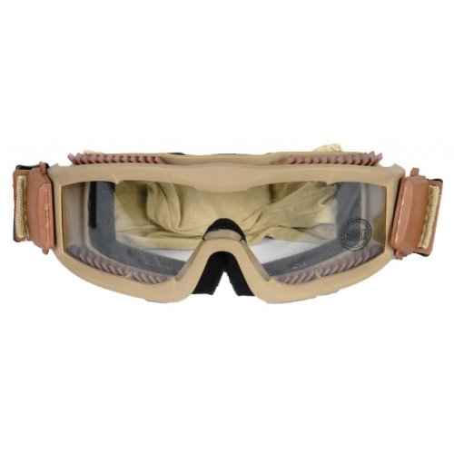 Lancer Tactical CA-221T Clear Lens Vented Safety Airsoft Goggles (Desert Tan), Maxiumum Protection & Air Flow