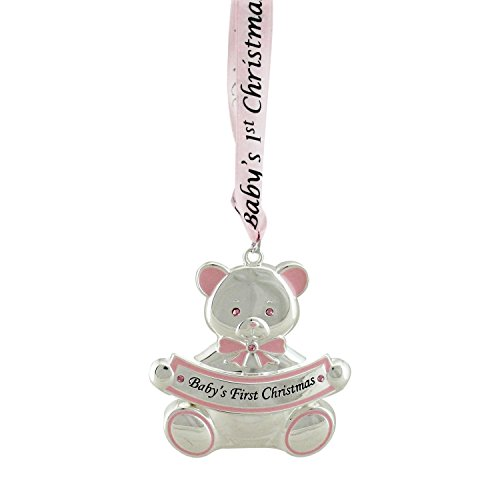 "Bear Crystal Baby (Northlight 3"" Pink Teddy Bear ""Baby's First Christmas"" Silver Plated Christmas Ornament)"