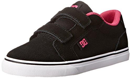 DC Boys' Anvil V Skate Shoe (Toddler/Little Kid/Big Kid), Black/Crazy Pink, 6 M US Big (Dc Pink Skateboard Shoe)
