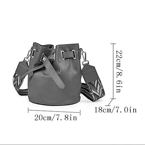 Korean Handbag Red Fashion Bucket Messenger Bag Handbag Women's Leather Bag Leather Bag Wild Shoulder Bag Shoulder Hand Bag HTwIP