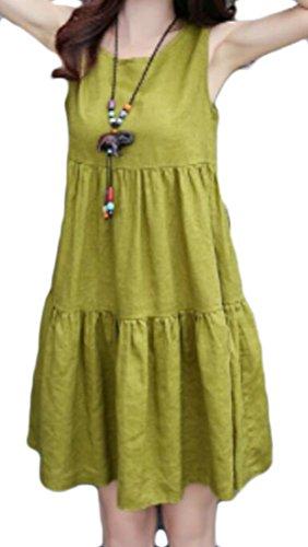 Dresses Swing Women's Loose Fit Linen Green Sleeveless Cromoncent Crewneck Casual HCS6Rxwq