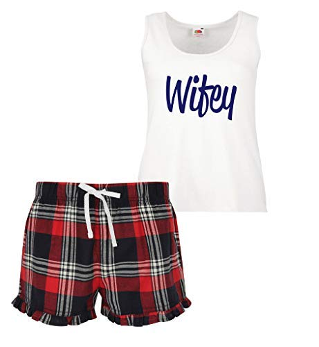 Limited Wifey Pajama o Set Makeover Short Blu Rosso Scottish 60 Second Ruffles Verde Womens qwEaa