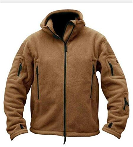FieldShuFu Military Man Fleece Tactical Softshell Jacket Thermal Polar Hooded Army Outerwear Coat Brown M