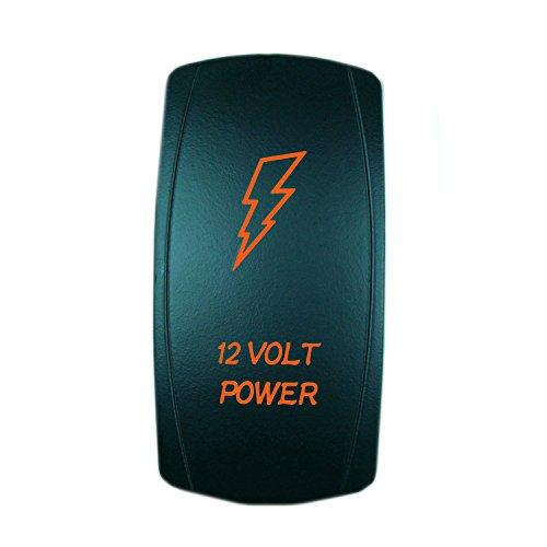QUNQI STAR 5 pin Laser Backlit Rocker Switch 12 VOLT POWER 20A 12V On/off LED Light Toggle Switch (Orange) - 3 Way 12 Volt Rocker Switch
