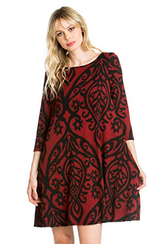 C7659dm Print Side Dress Burgundy Black A Women's Line Cody Line 3 Pocket Sleeve Tunic 4 qxYZ1X7