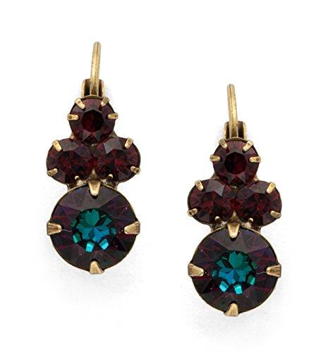 Earrings Wisteria (Sorrelli Wisteria Mahogany Volcano & Burgundy Swarovski Crystal Antique Goldtone Earrings)