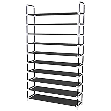 SONGMICS 10 Tiers Shoe Rack 50 Pairs Non-woven Fabric Shoe Tower Organizer Cabinet Balck ULSH11H