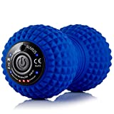 SUVIUS Peanut Electric Vibrating Rechargeable Foam Roller - 4 Intensity Levels for Firm Battery-Powered Deep Tissue Recovery, Training, Massage - Therapeutic Back and Muscle Massage Roller (Blue)
