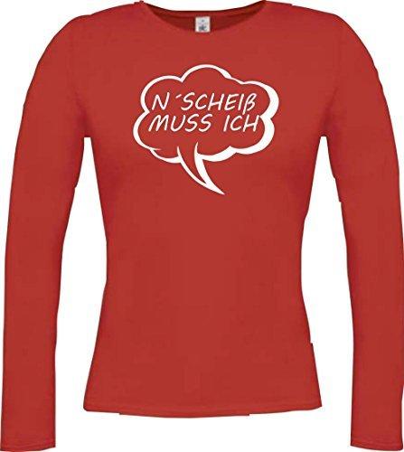 Shirtstown Camisa larga de mujer Globo N´ Scheiss debe ich Rojo