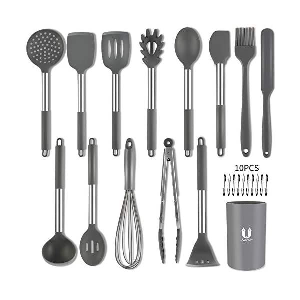 Silicone Cooking Utensil Set, BPA Free 24pcs Silicone Cooking Kitchen Utensils Set with 10pcs hook, Non-stick Heat… 1