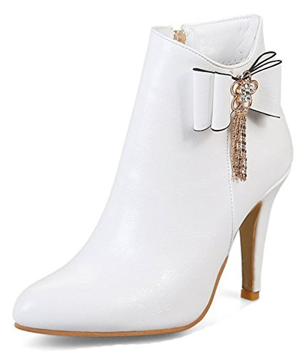 Aisun Womens Elegant Inside Zip Up Stiletto High Heel Booties Pointed Toe Dressy Ankle Boots Shoes With Bows White 9mg5rTs