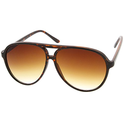 zeroUV - Large Classic Retro Plastic Aviator Sunglasses with Gradient Lens (Tortoise / - Retro 80s Sunglasses